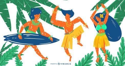 Conjunto de vectores de personas hawaianas