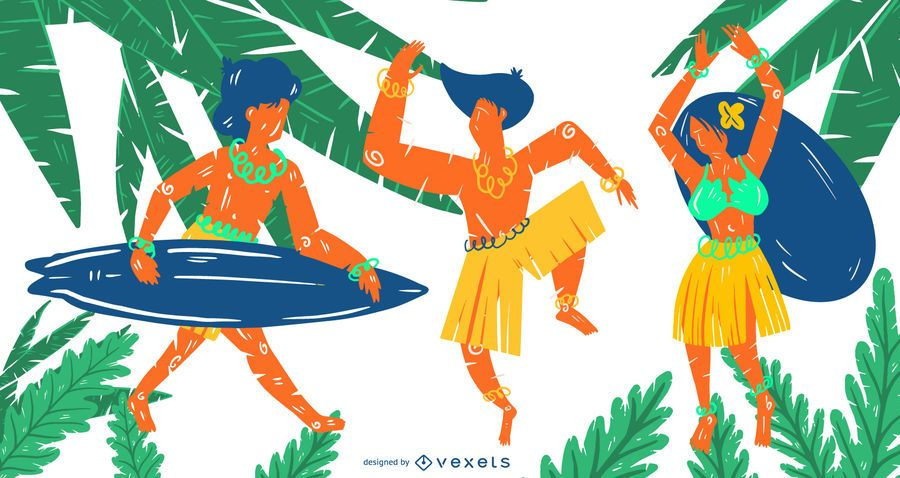 Hawaiian people vector set