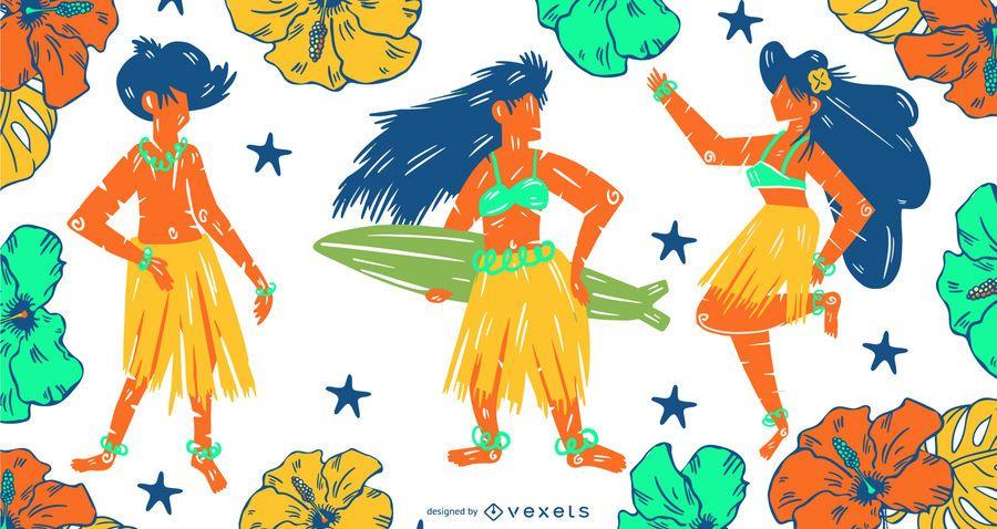 Hawaii Menschen festgelegt