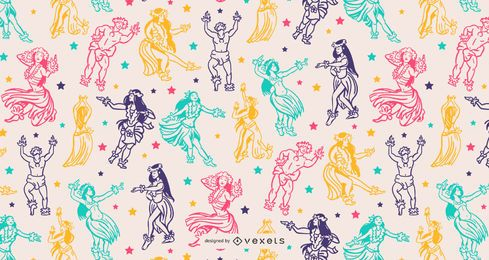 Hawaii Hula Dance People Pattern