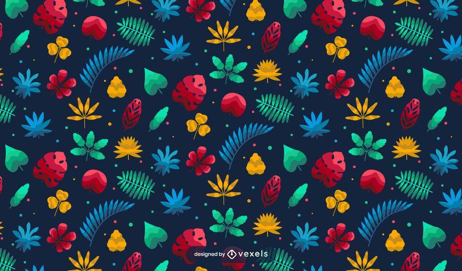 Hawaii Tropical Plant Pattern Design