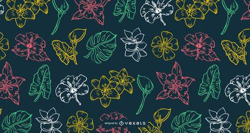 Hawaiian Flower Stroke Design Pattern
