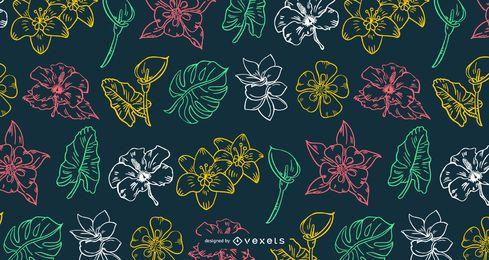 Padrão de Design de traço de flor havaiana