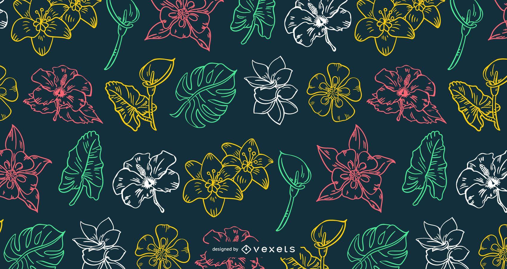 Hawaiian Flower Stroke Design Pattern - Vector Download