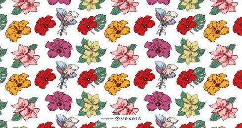 Diseño de patrón de flores tropicales de Hawaii