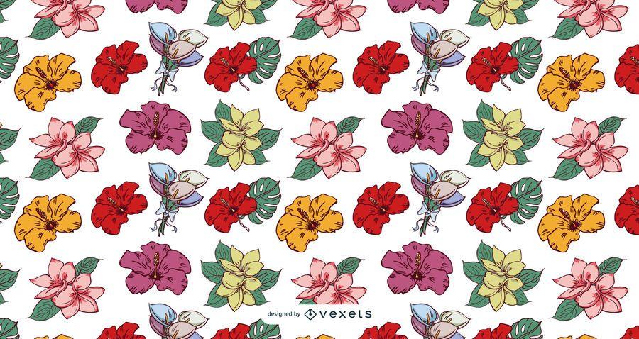 Hawaii Tropical Flower Pattern Design