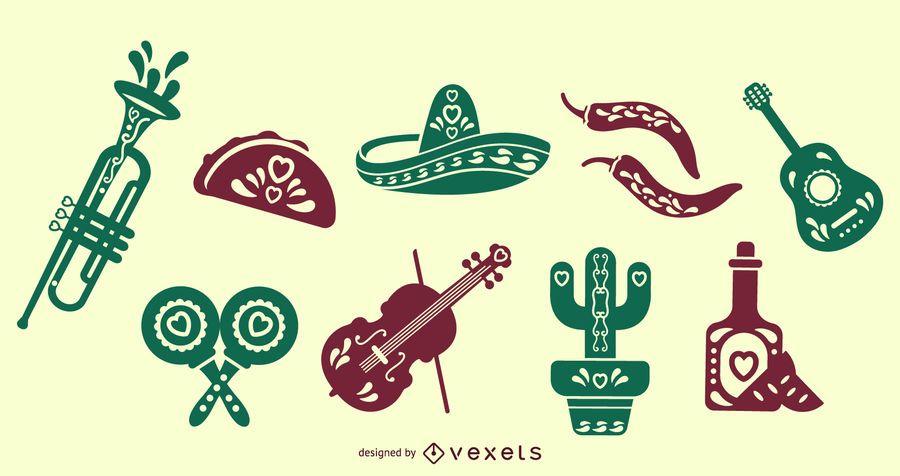 Conjunto de elementos de silhueta mexicana