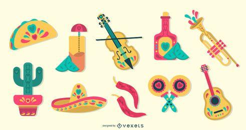 Conjunto de elementos de design plano mexicano