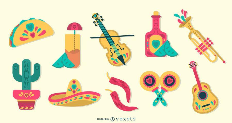 Mexican Flat Design Elements Set