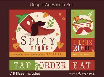 Conjunto de banner de anúncio de comida mexicana do Google