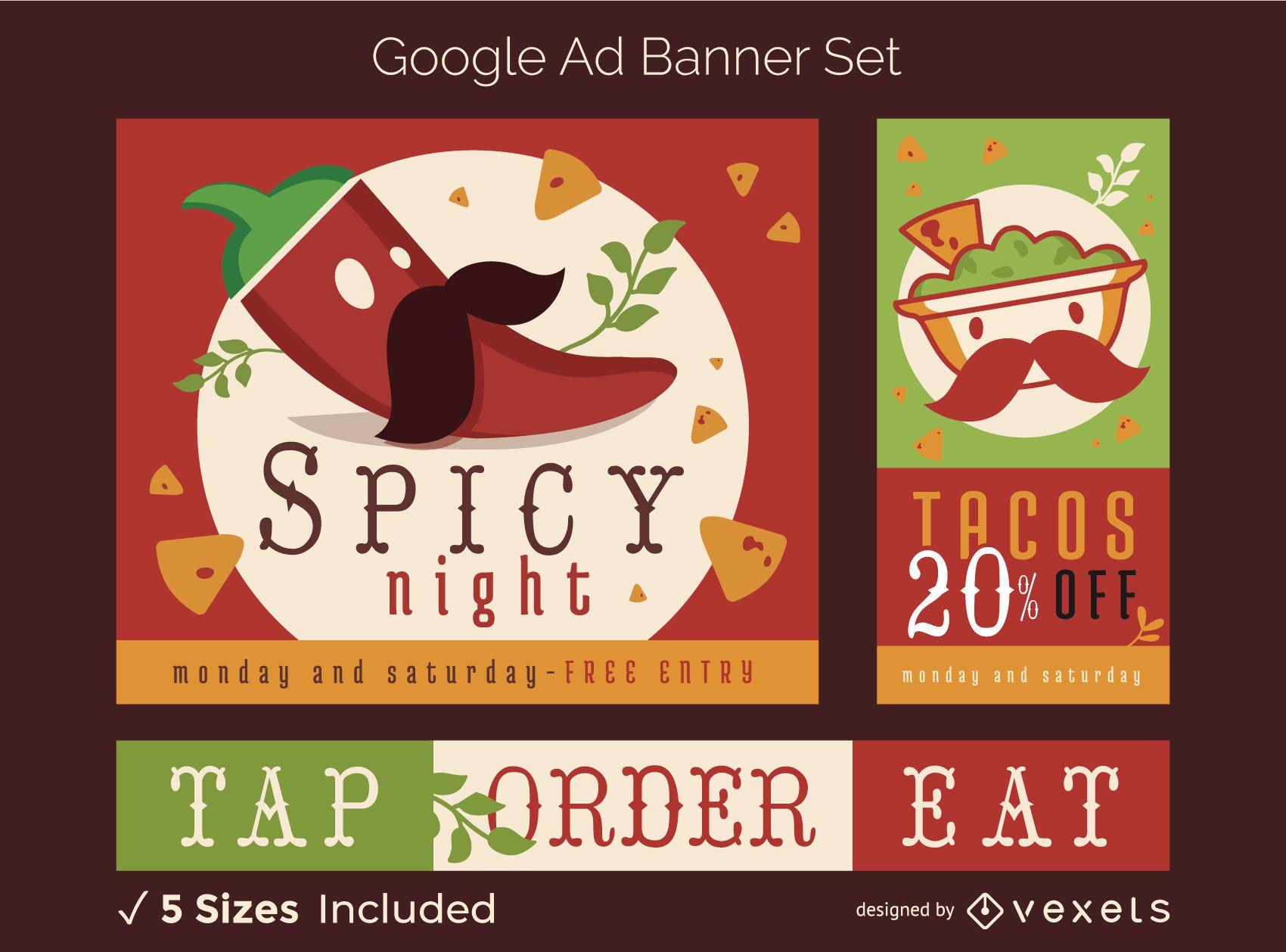 Conjunto de banners publicitarios de Google de comida mexicana