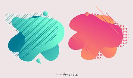 Conjunto de diseño abstracto colorido degradado Blot
