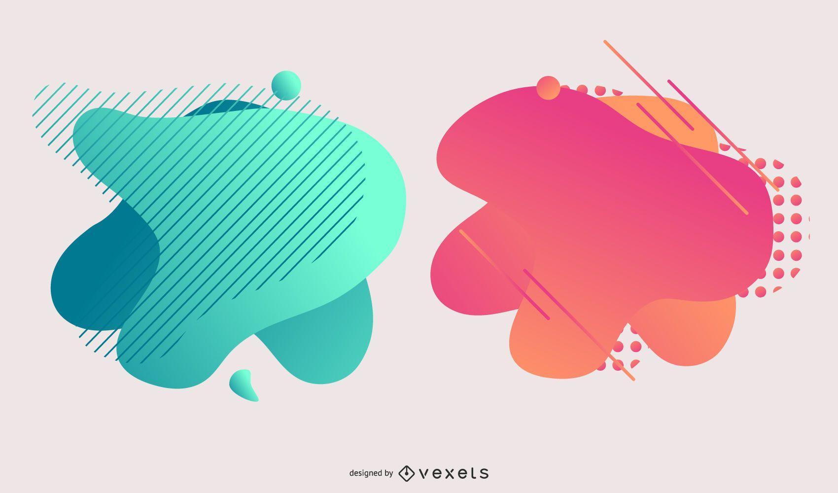 Abstract Colorful Gradient Blot Design Set