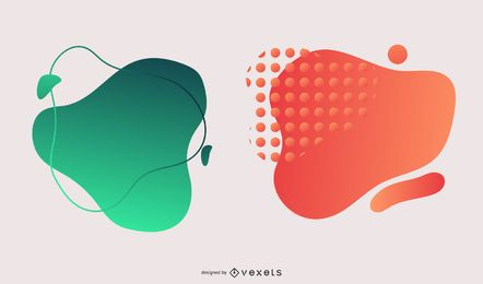 Buntes Farbverlaufs-Blot-Grün-Orange-Designpaket