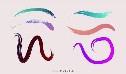 Abstraktes buntes Farbverlaufs-Pinsel-Set