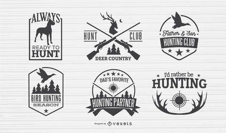 Conjunto de design de emblemas de caça