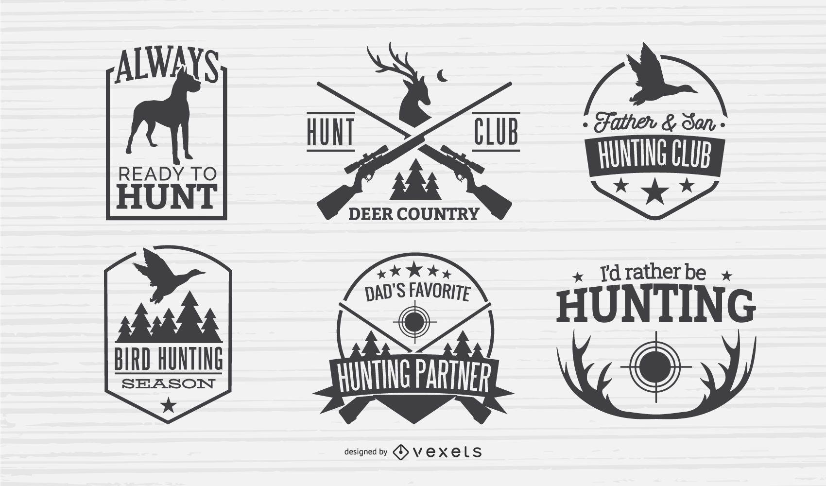 Hunting Badges Design Set