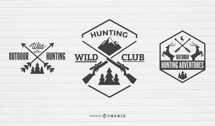 Paquete de diseño de insignia de cazador
