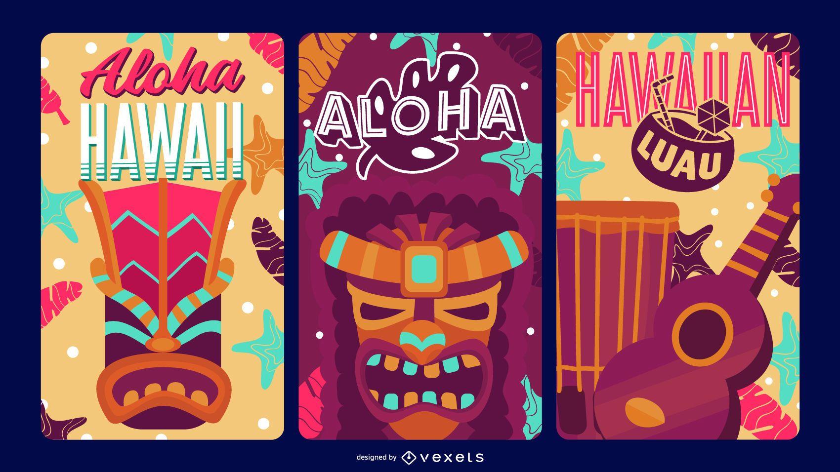 Conjunto de etiquetas Aloha Hawaii