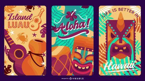 Pacote de design de etiquetas do Havaí