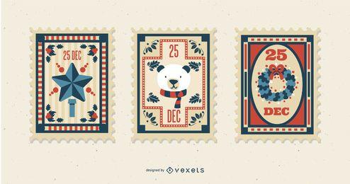 Set de sellos postales navideños