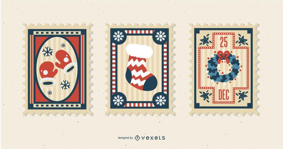 Conjunto de sellos postales de Navidad