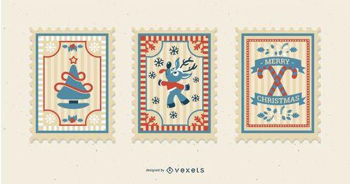 Paquete de sellos postales navideños