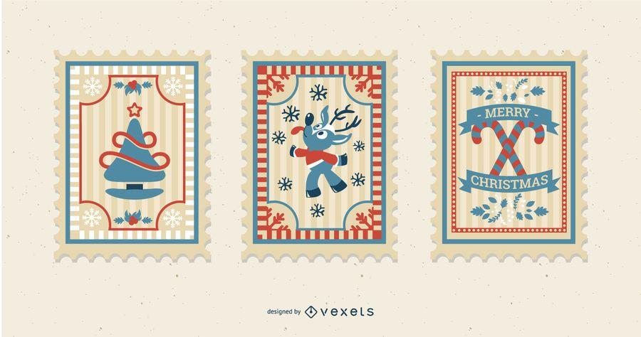 Pacote de selos postais de natal
