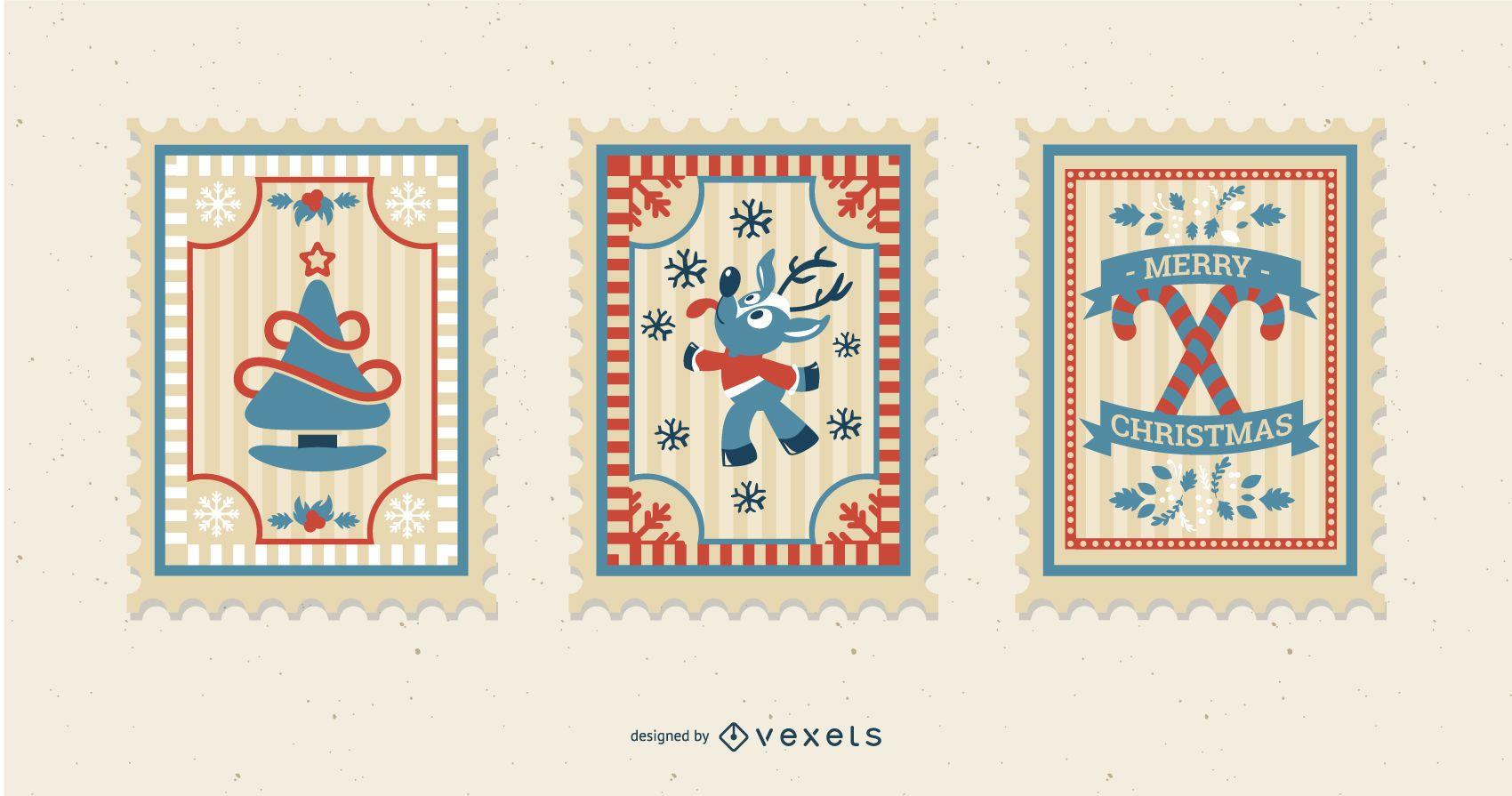 Christmas Postage Stamp Pack