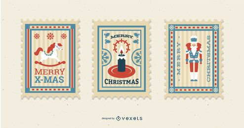 Christmas Postage Stamp Design Set