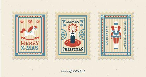Conjunto de diseño de sellos postales de Navidad
