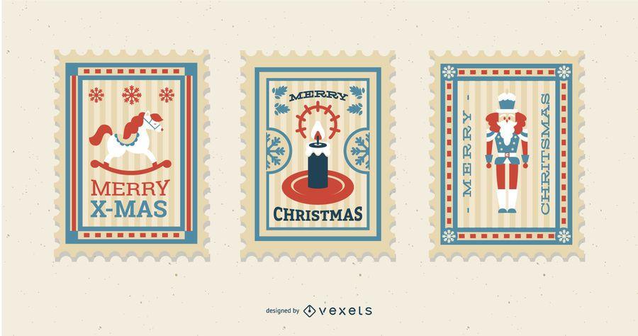 Conjunto de diseño de sello de Navidad