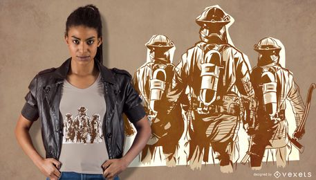 Projeto do t-shirt da equipe do sapador-bombeiro