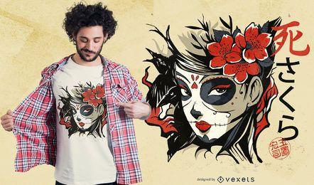 Design asiático do t-shirt da menina do crânio do açúcar