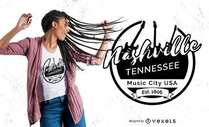 Nashville Music City Badge T-shirt Design