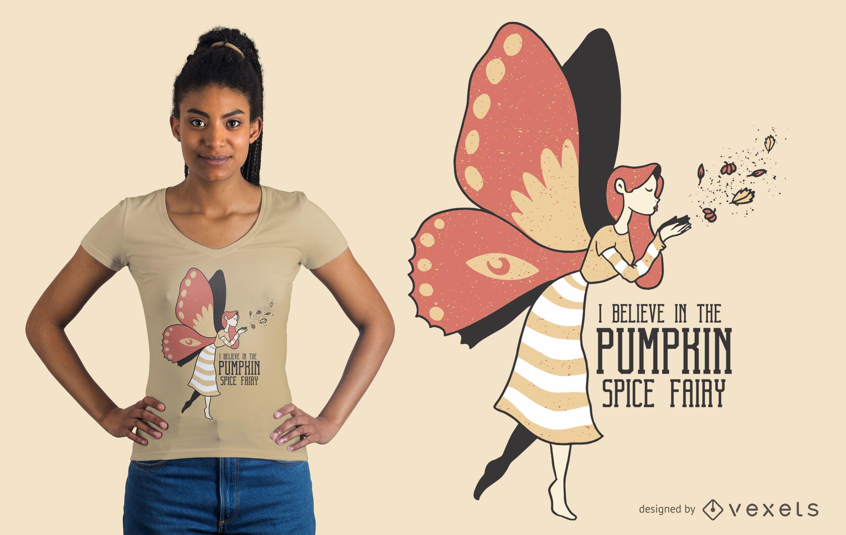 Diseño de camiseta Pumpkin Spice Fairy