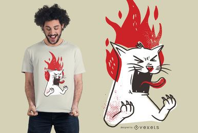 Rasender Katzen-T-Shirt Entwurf