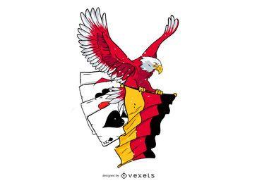 Design de vetor de cartão de poker de águia alemã