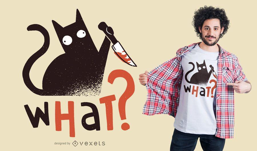 Design engraçado do t-shirt do gato de assassinato