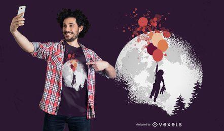 Design de t-shirt flutuante de menino e urso de pelúcia
