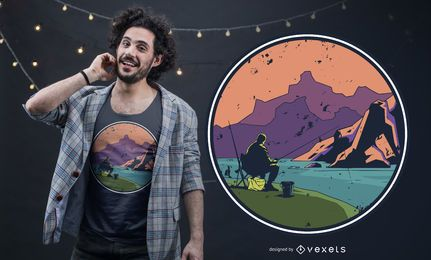 Design de t-shirt de viagem de pesca