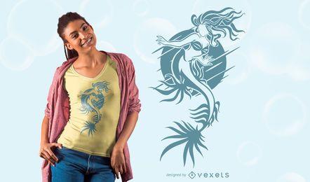 Diseño de camiseta gráfica de sirena
