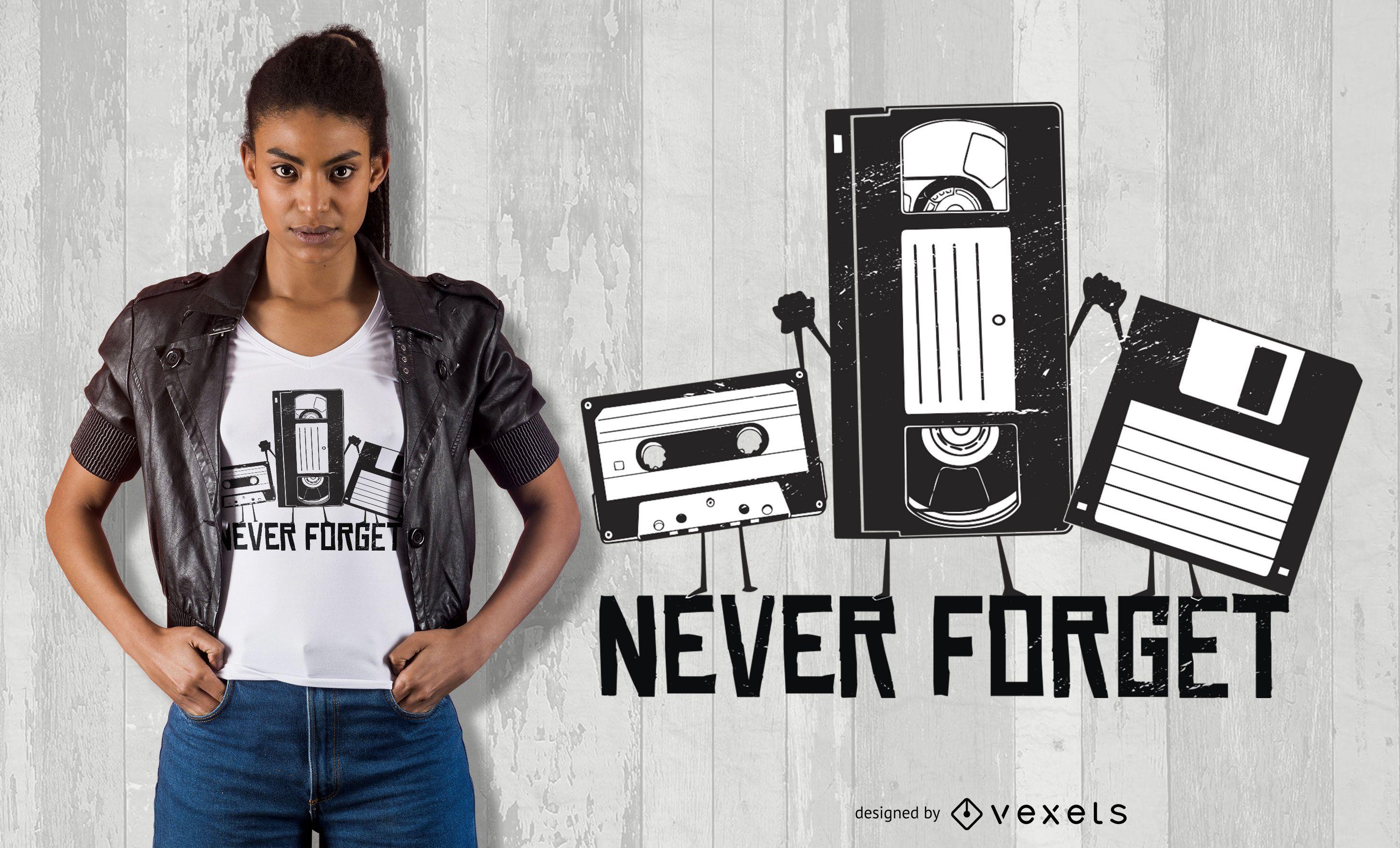 Diseño de camiseta Never Forget Funny Tape