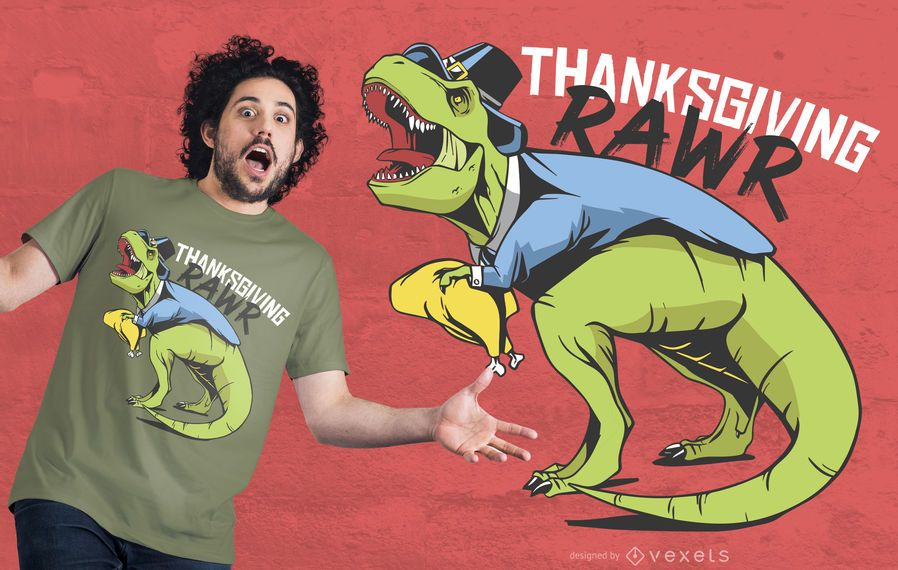 Thanksgiving Dinosaur T-shirt Design