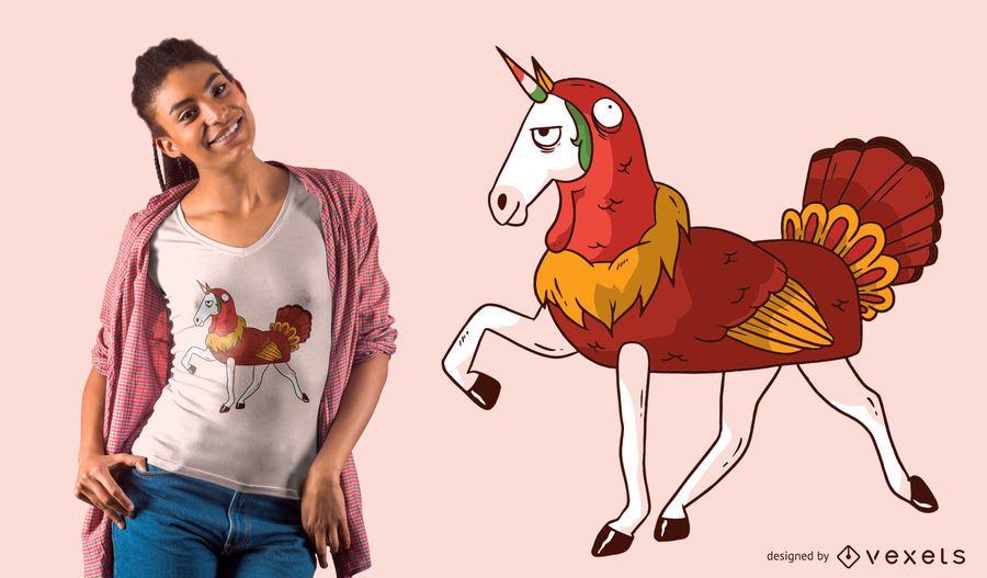 Diseño de camiseta de acción de gracias de Unicorn Turkey