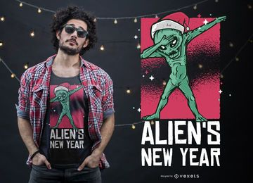Dabbing Alien New Year Christmas T-shirt Design