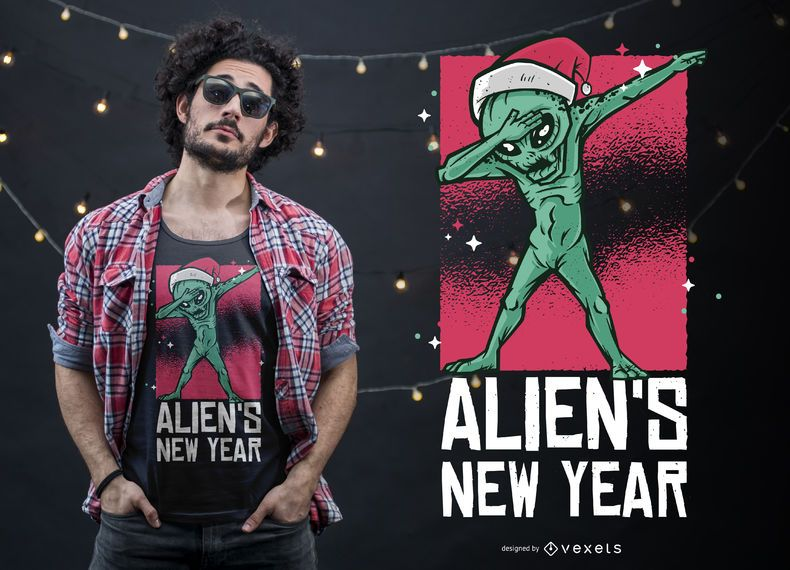 Dabbing Alien New Year Christmas T-shirt Design
