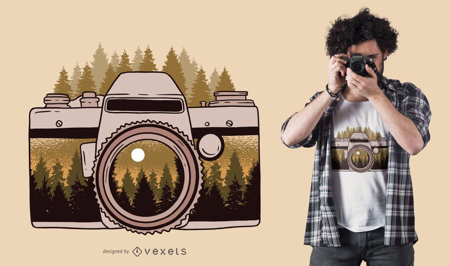 Design de camiseta para câmera florestal