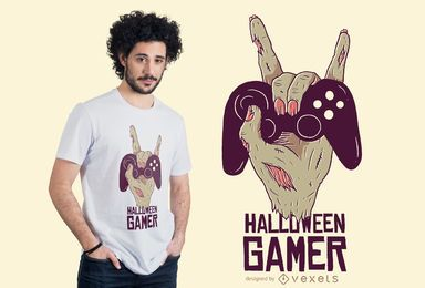 Design de t-shirt de jogador de Halloween