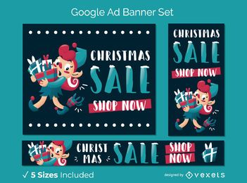 Conjunto de banner de venta de Navidad